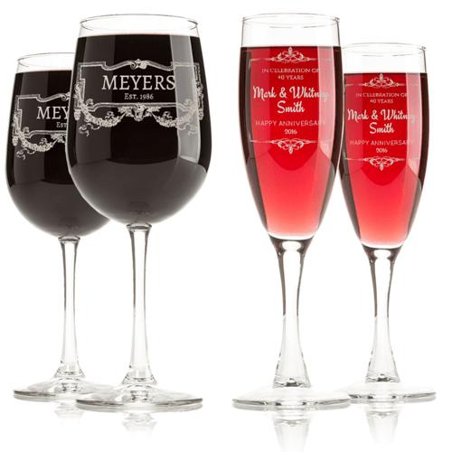 Commemorative Engraved Wine Glasses