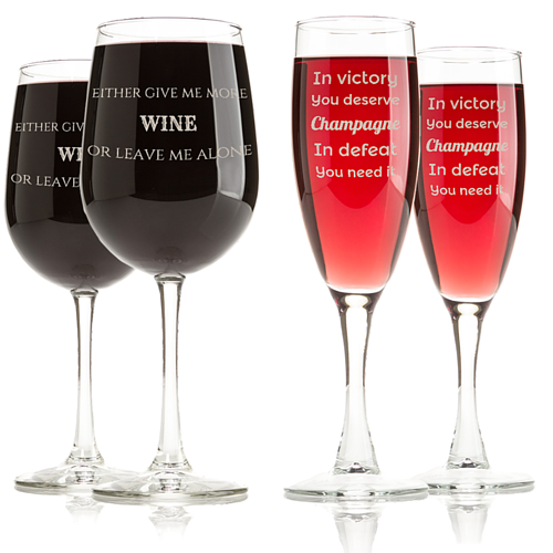 Funny Quotes on Engraved Wine Glasses