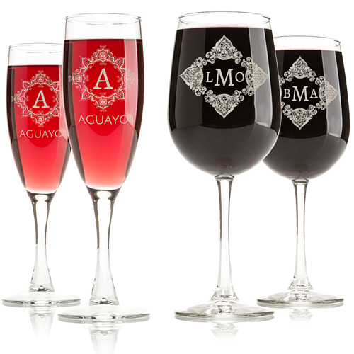 Monogrammed Engraved Wine Glasses