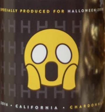 scared emoji wine label