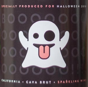ghost emoji wine label