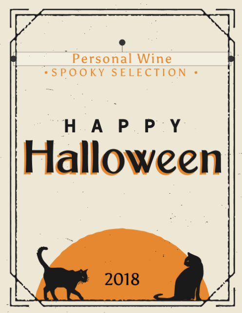halloween cat wine label