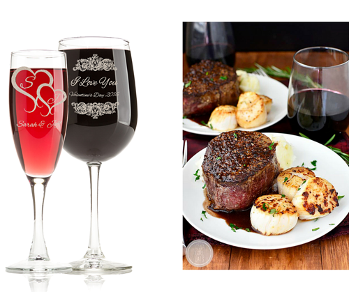 Valentine's Day dinner with engraved glasses