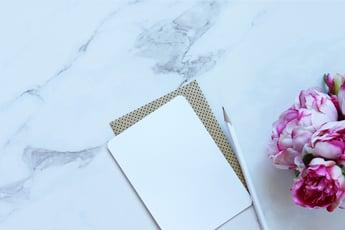 blank notecard pencil flowers
