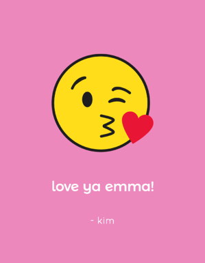 wine label with a kiss emoji