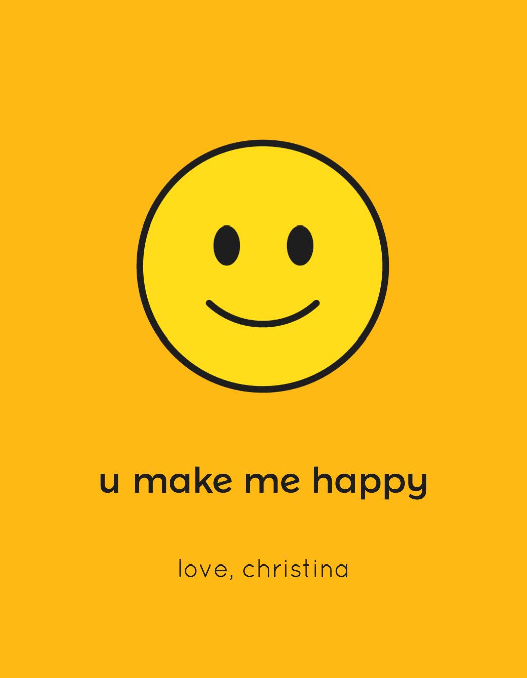 wine label with a happy emoji