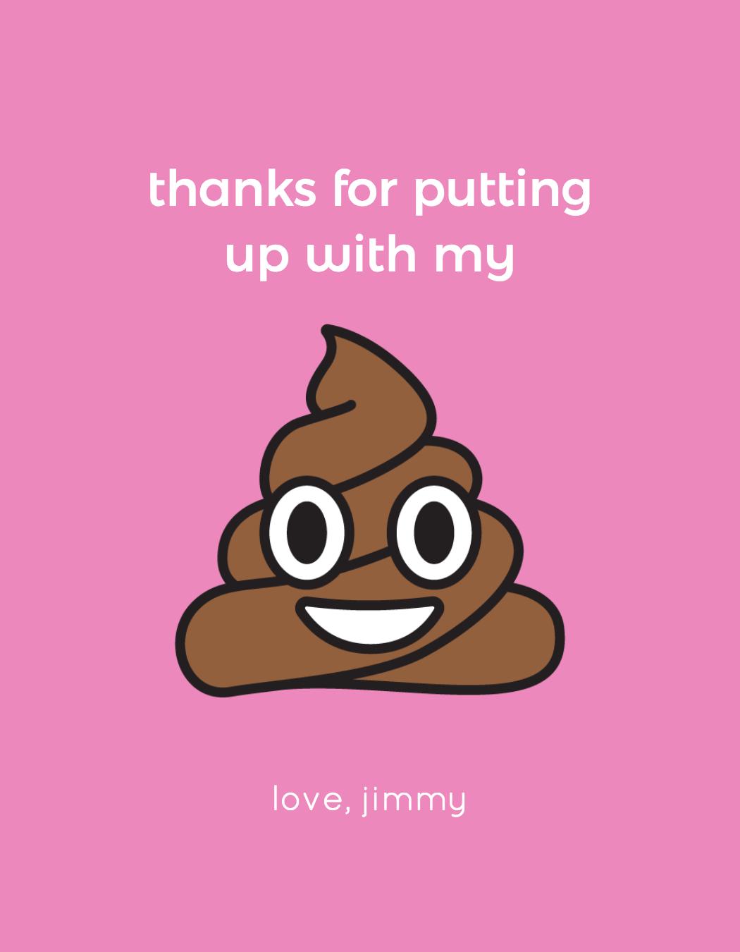 wine label with a poop emoji