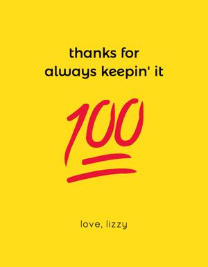 wine label with a 100 emoji