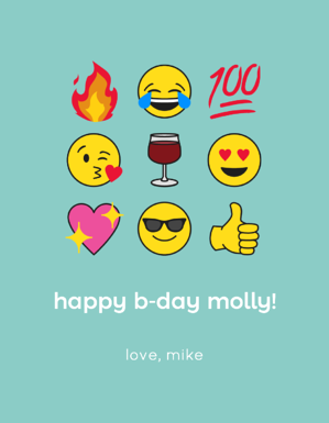 wine label with birthday emojis