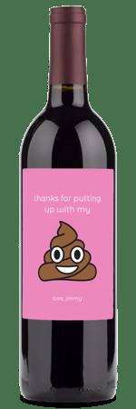 wine gift with poop emoji