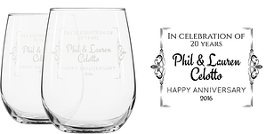 Engraved Wine Glasses Without Stems