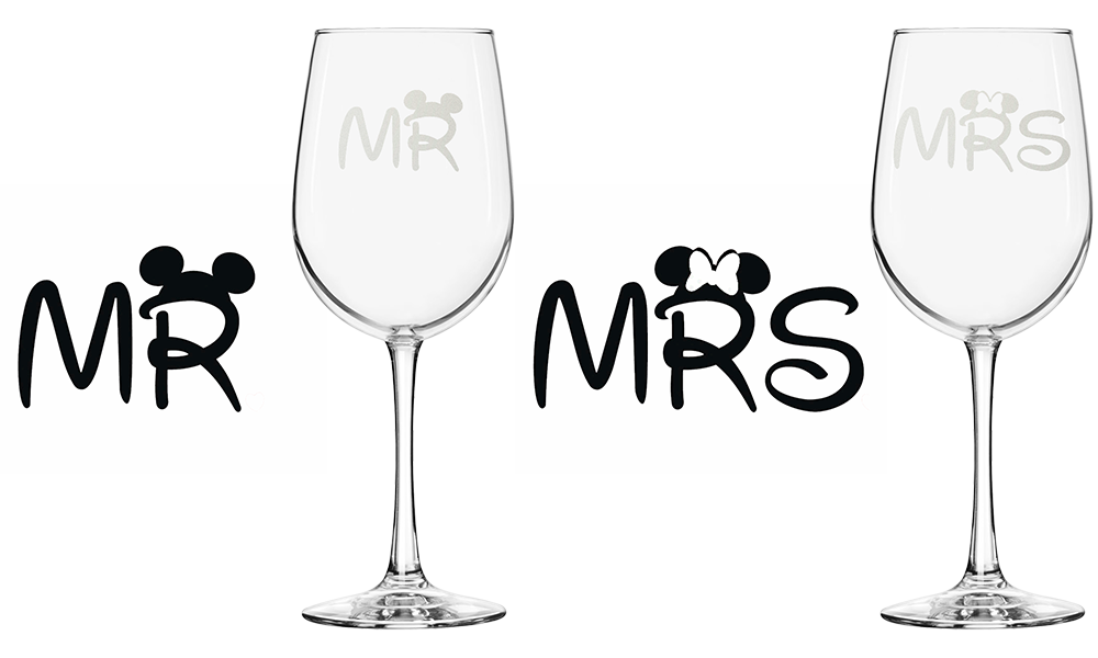 His and Hers Etched Wine Glasses