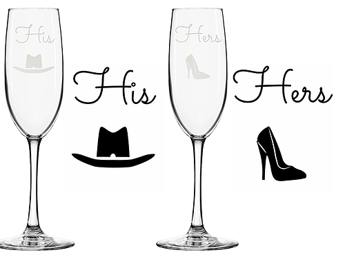 His and Her Champagne Glasses