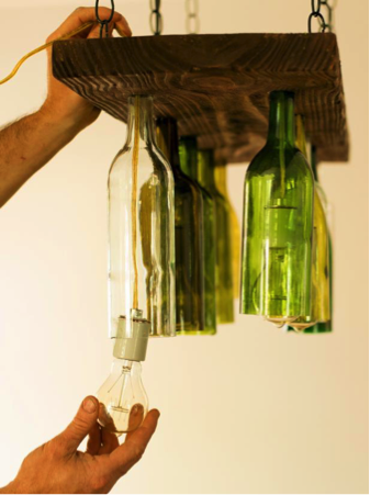 How to Make a Chandelier from Old Wine Bottles Step 7 Connect Plank