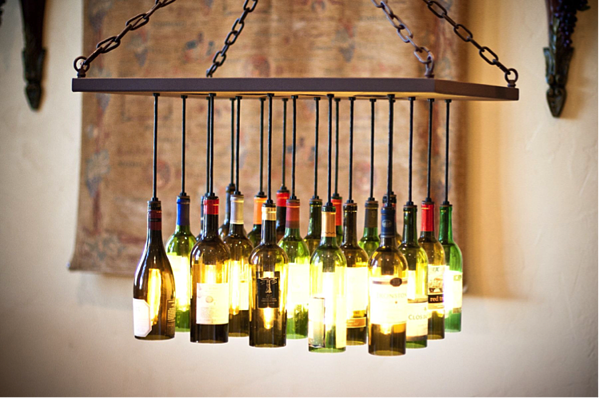 How to Make a Chandelier from Old Wine Bottles Step 8 Light Up the Room