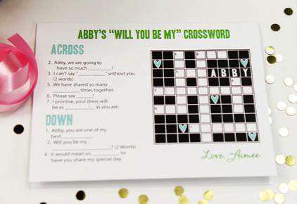 Crossword bridesmaid propsal