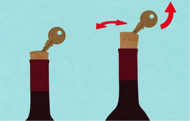 Uncork with a key