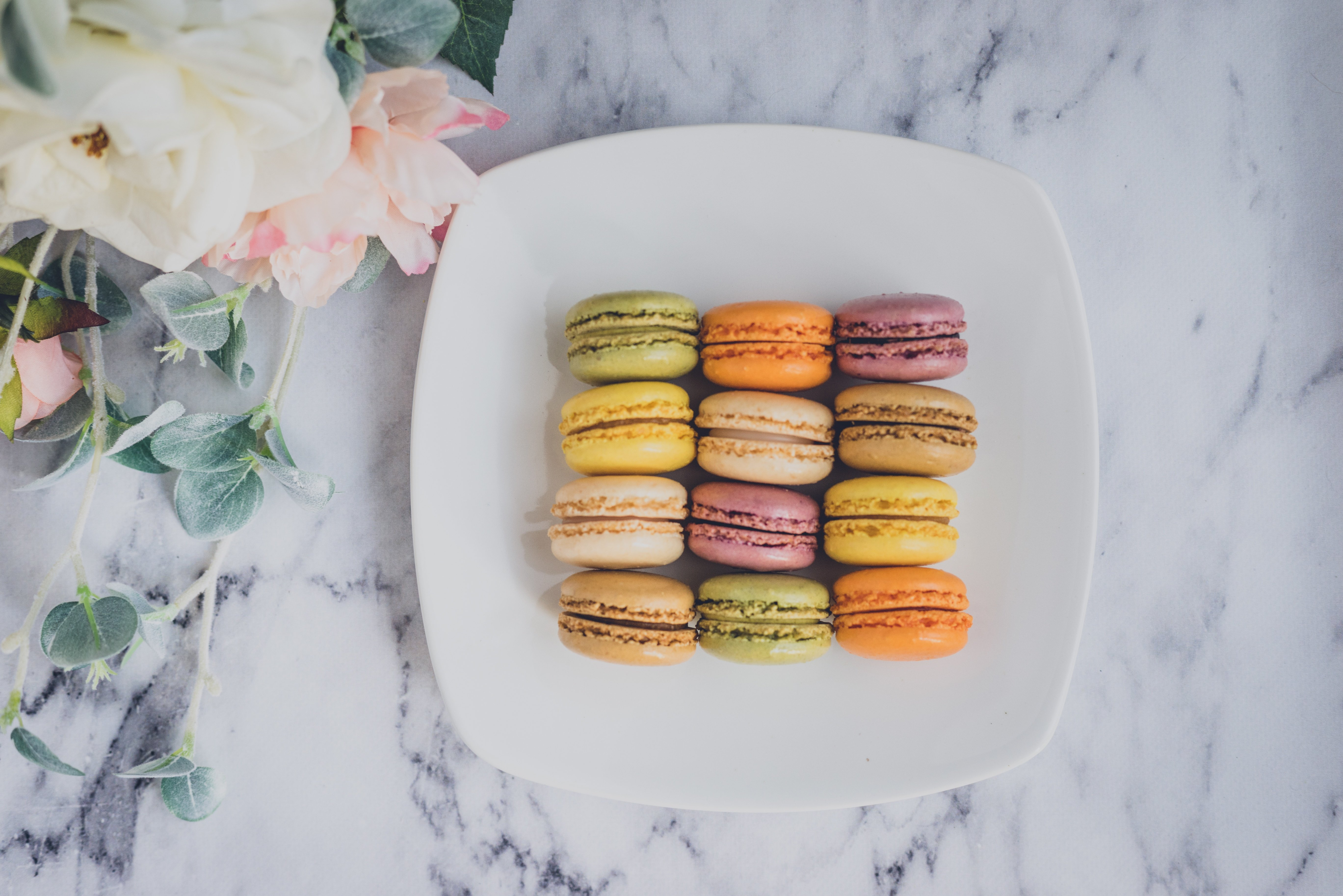 macarons flowers marble counter